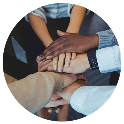 teamwork multiethnic hands